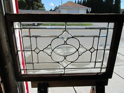 ~ ANTIQUE BEVELED ETCHED STAINED GLASS WINDOW ~ 36 x 23 ~ ARCHITECTURAL SALVAGE