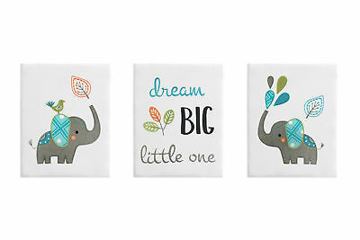 Turquoise Grey Elephant Wall Art Room Decor Hangings Baby Nursery Kids Children