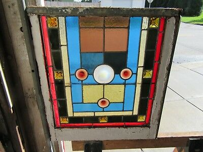 ~ ANTIQUE STAINED GLASS WINDOW ~ 11 JEWELS ~ 22 x 24 ~ ARCHITECTURAL SALVAGE ~