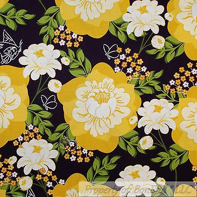 BonEful Fabric FQ Cotton Quilt Brown Yellow Flower Large Green Leaf Beach Garden