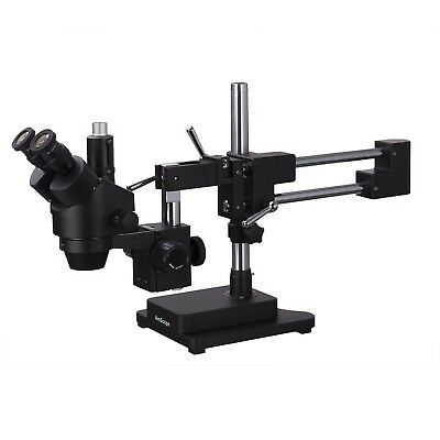 AmScope 7X-90X Trinocular Stereo Zoom Microscope + Double Arm Boom Stand