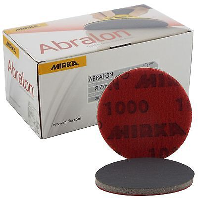 "Mirka Abralon 77mm 3"" P1000 Grit 20x HookNLoop Foam Fine Finishing Discs Pad"
