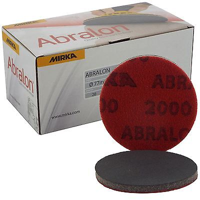 "Mirka Abralon 77mm 3"" P2000 Grit 20x HookNLoop Foam Fine Finishing Discs Pad"