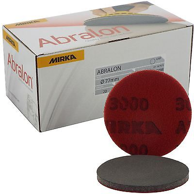"Mirka Abralon 77mm 3"" P3000 Grit 20x HookNLoop Foam Fine Finishing Discs Pad"