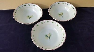 Merry Brite Holiday Home Christmas Holly Berry Pine Cone 3 Salad Bowls 6.5 ""