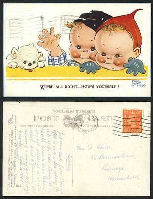 MABEL LUCIE ATTWELL 1948 Old Postcard We're All Right Dog Puppy Children No. 818