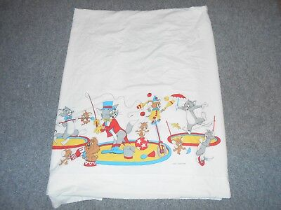Mgm Vintage 70's Tom & Jerry Cartoon Twin Size Flat Bed Sheet