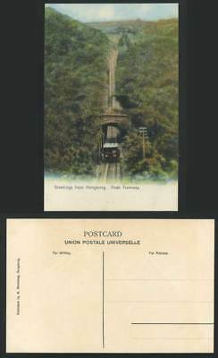 Hong Kong, Greetings from Hongkong China Old Colour Postcard TRAM & PEAK TRAMWAY