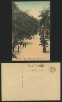 Hong Kong China Old Hand Tinted Color Postcard QUEEN'S ROAD CENTRAL Street Scene