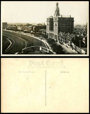 China Old Real Photo Postcard RACE COURSE SHANGHAI Clock Tower Street Carlton Ld