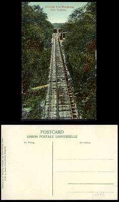 Hong Kong Peak Tramway & Trams Greetings from HK Old Colour Postcard M Sternberg