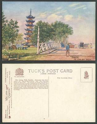 China Old Tuck's Oilette Postcard Shanghai The Loong Wah Pagoda, Lung Wha Bridge