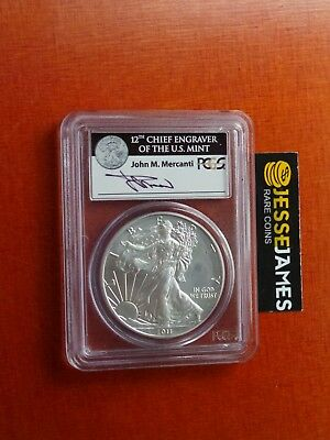 2011 W Burnished Silver Eagle Pcgs Ms70 Fs Mercanti From 25Th Anniversary Set