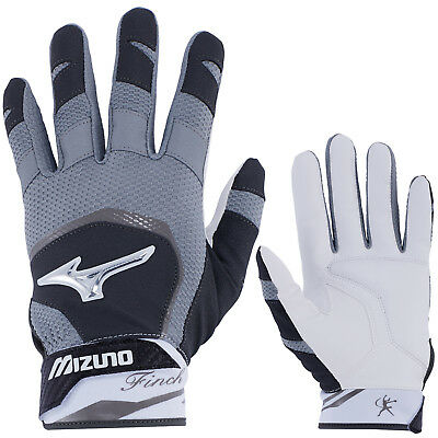 Mizuno Finch Women's Fastpitch Softball Batting Gloves - Black/White - Medium
