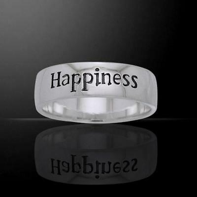 HAPPINESS Sterling Silver Ring - Empowering Words Collection - Size Select