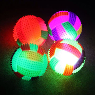 LED Flashing Light Up Color Changing Volleyball Bouncing Hedgehog Ball Pet Toy