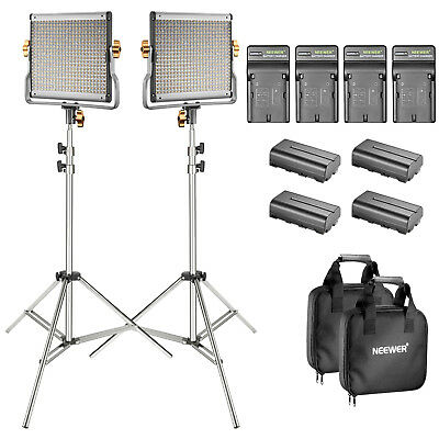 Neewer Studio 2-Pack Bi-color Dimmable 480 LED Video Light + Stand Lighting Kit