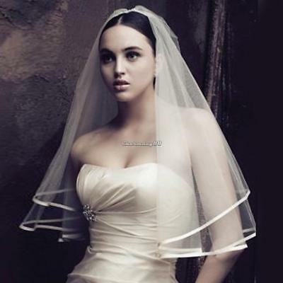 Ivory 1T Bridal Crystal Wedding Veil Short Elbow Length Satin Edge Diamante 1.5M