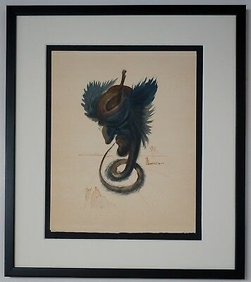 "Original Salvador Dali ""The black Cherub"" Chant 20 - Woodcut Divine Comedy"
