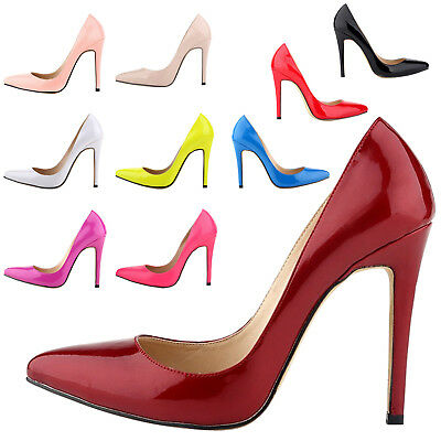 Plus Women Pointed Toe Stiletto High Heel Shoes Party Pump Court Wedding Shoes