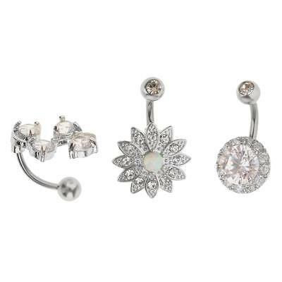3pcs Belly Bar Navel Button Ring Crystal Flower Steel Body Jewellery 14G