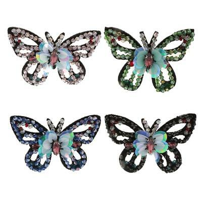 4 Color Butterfly Crystal Sequins Beaded Patch Embroidery Applique Embellishment