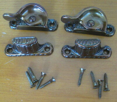 2 pair of Vintage Copper japanned antique bronze finish sash locks, screws, new