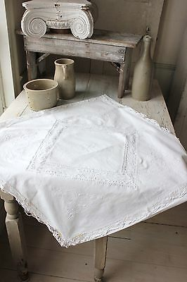 RR Lace antique Euro sham pillow case white cotton linen French c1900 Eurosham