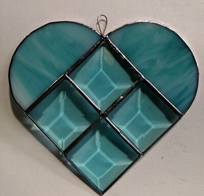 Aqua  Beveled and  Stained Glass   Heart Suncatcher Style Z