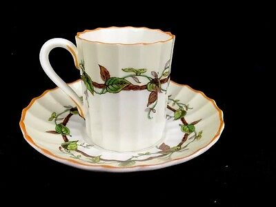 Royal Worcester Florence Demitasse Cup Saucer Reproduction Of Early Item