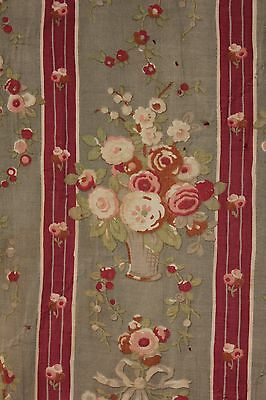 Antique French fabric cotton GREY GRAY ground material striped floral c 1900