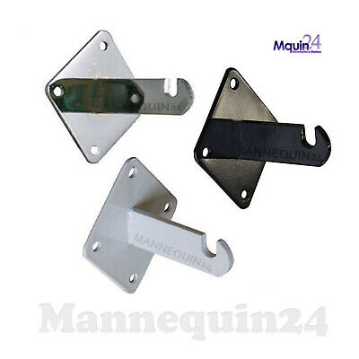 Gridwall Heavy Duty Wall Mount Brackets for Grid Panels - Chrome, White or Black
