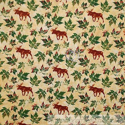 BonEful Fabric FQ Cotton Quilt Gold Maple Leaf Green Brown Moose Cabin Nature US