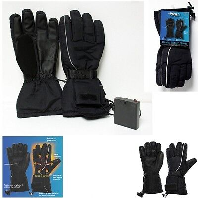 Polar Ex Battery Operated Heated Ski Gloves Black One Size Fits Most NWT
