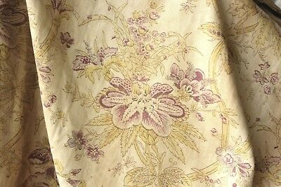Antique linen French curtain printed floral faded timeworn purple hand blocked