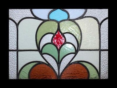 Pretty Art Nouveau Floral Antique English Stained Glass Window