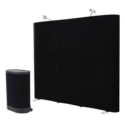 8' ft. Black Straight Trade show Pop Up Display Booth Podium Table Carrying Case