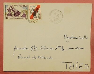 1968 Senegal Diourbel Cancel Cover To Thies