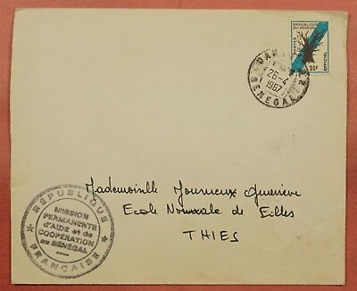 1967 Senegal 30Fr Official On Cover Mission Corner Dakar To Thies