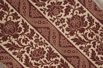 Antique French printed cotton c1860 ~ madder brown fabric c1860 material 19th