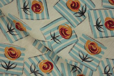 Vintage French Art Deco fabric material Geometric floral