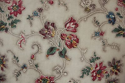 Antique Bedspread bed cover c 1820 French textile wood block printed