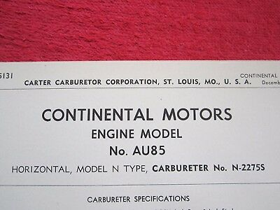 1950's CONTINENTAL MOTORS ENGINE AU85 CARTER CARBURETOR SPEC & INFO SHEET