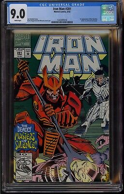 Iron Man #281 CGC 9.0 VF/NM White Pages 1st War Machine Appearance Marvel 1992