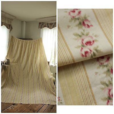 Vintage French  Yellow Pink floral stripe curtain drape cotton 1930's cotton