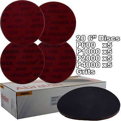 "Mirka Abralon 150mm 6"" Multi Grits 20x HookNLoop Foam Fine Finishing Discs Pad"