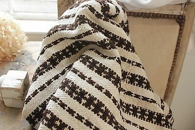 Vintage folk art throw blanket Homespun wool hemp blanket  linen brown stripe ~