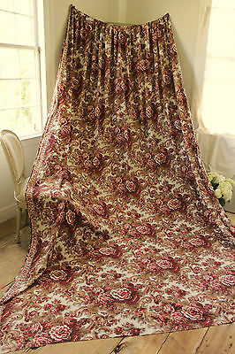Antique French Madder brown bed curtain  c1860 Alsace textile 10.5 feet by 7.9 !