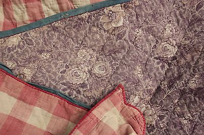 Antique French quilted valance purple pink c 1830 indigo blue tape