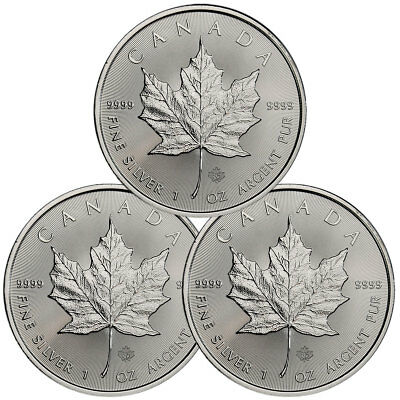 Lot of 3 - 2018 Canada 1 oz Silver Maple Leaf $5 Coins GEM BU Coins SKU49793